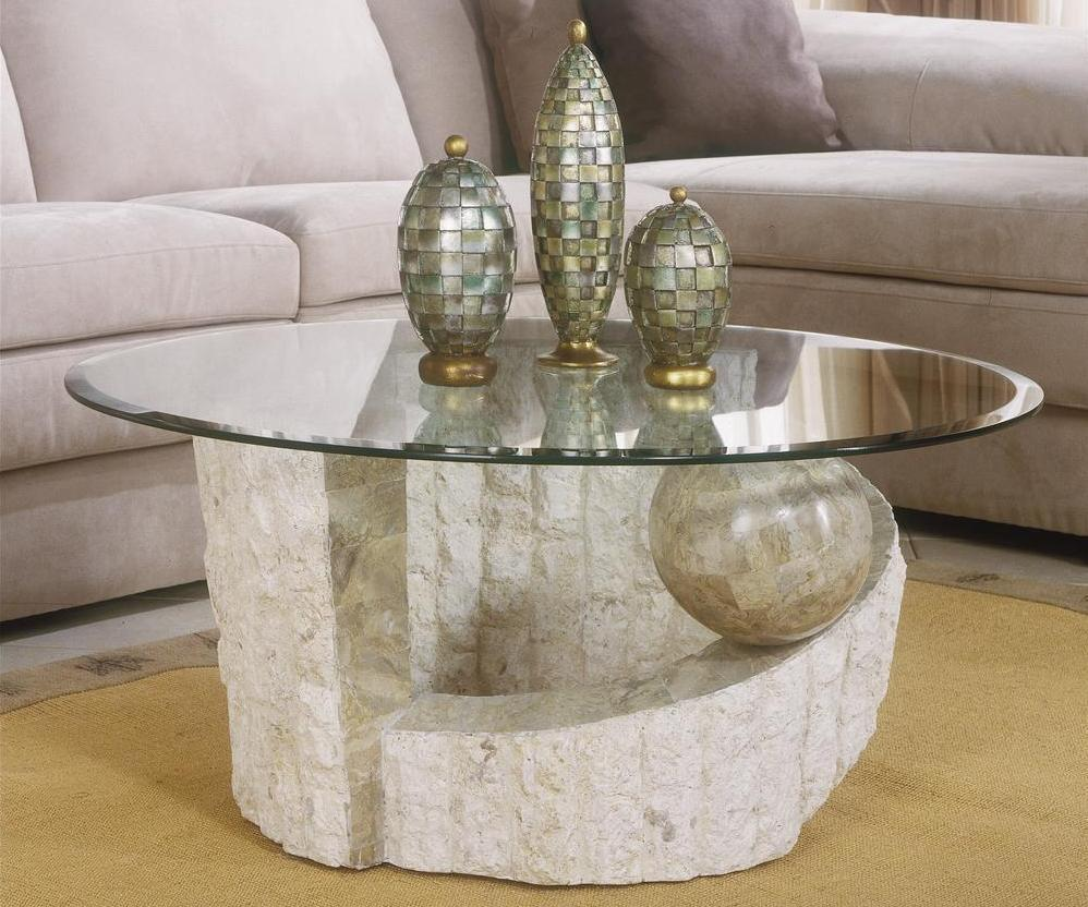 Stone coffee table with glass top for Stone coffee table