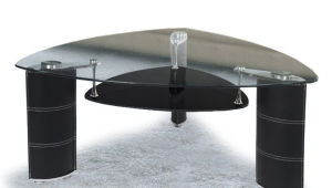 Triangular Glass Coffee Table With Open Shelf