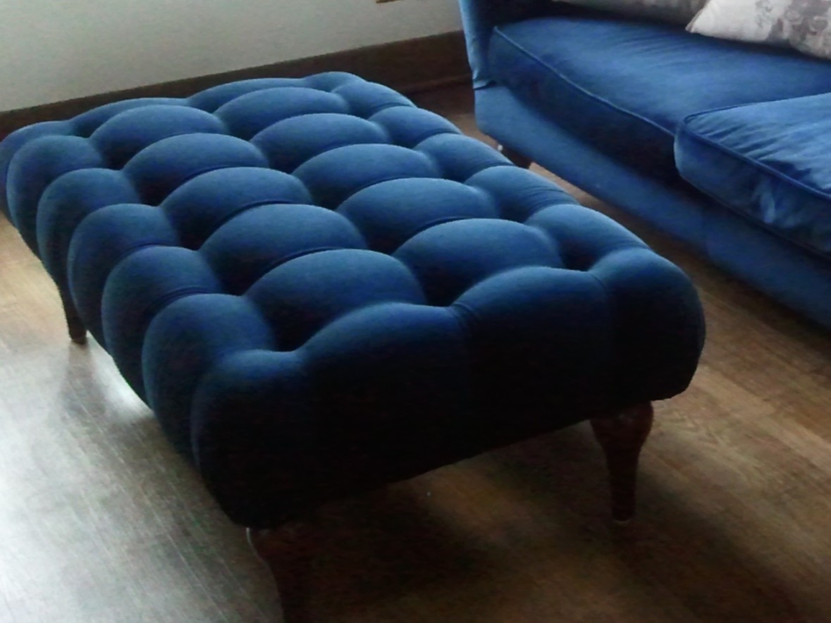 Tufted Blue Coffee Table