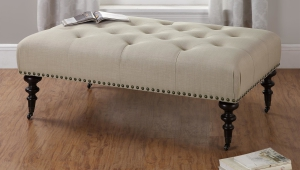Tufted Ottoman Coffee Table With Wheels