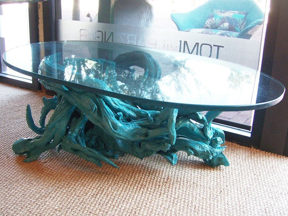 Turquoise Driftwood Base Coffee Table