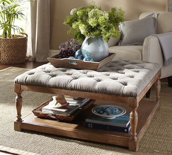Hartley Coffee Table Storage Ottoman with Tray  Side
