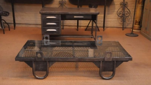 Vintage Iron Rectangular Coffee Table