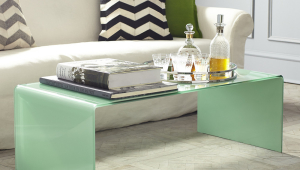 Waterfall Colored Glass Wisteria Coffee Table