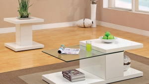 White Lacquer And Glass Coffee Table