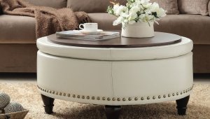 White Leather Ottoman Coffee Table Tray