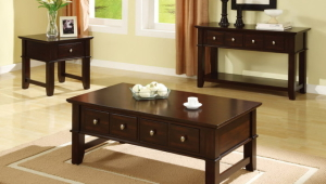 Wood Coffee Table Set With Drawers