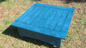 Wooden Blue Coffee Table