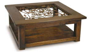 Wrought Iron Coffee Table With Wooden Frame