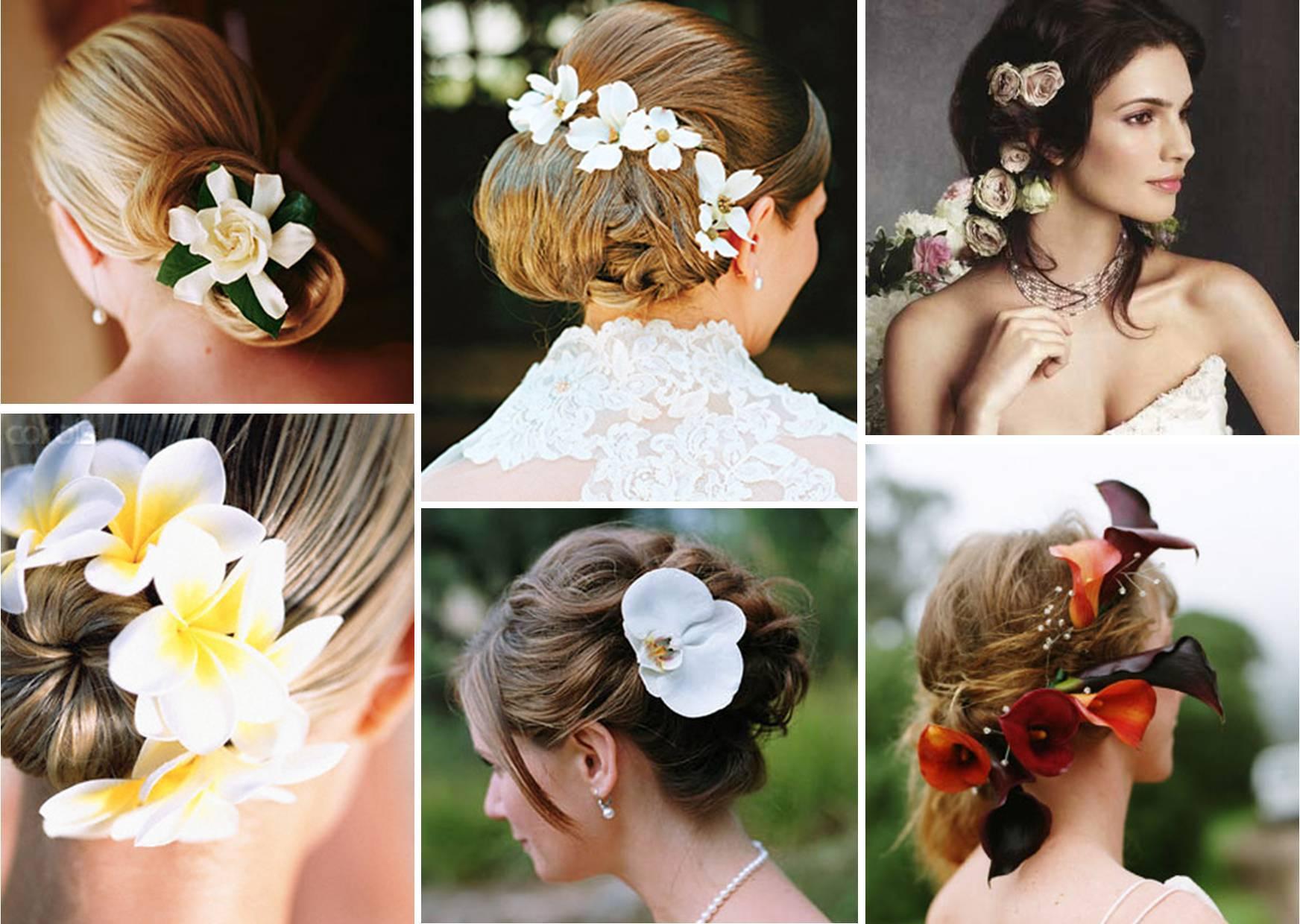 Прически украшая цветами фото
