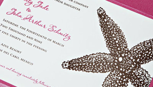 Pink Beach Wedding Invitation