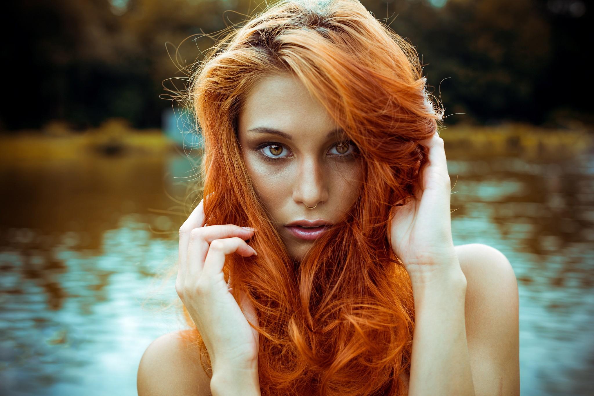 Wallpaper Face Women Model Nose Rings Long Hair: Victoria Ryzhevolosaya HD Desktop