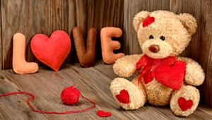 Teddy Bear Holding Heart Love