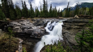 Athabasca Falls At Dusk Photos