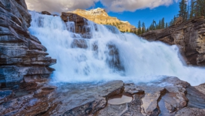 Athabasca Falls At Dusk Pictures